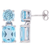 11 1/6 CT TGW Round & Cushion Cut Sky Blue Topaz Dangle Earrings In Sterling Silver - 75000004333
