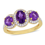 1 5/8 CT TGW Oval-Cut Amethyst & 1/3 CT Tw Diamond 3-Stone Halo Ring In Yellow Plated Sterling Silver - 75000004301