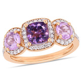 1 3/4 CT TGW Cushion-Cut Amethyst & Rose De France & 1/3 CT Tw Diamond 3-Stone Halo Ring In Rose Plated Sterling Silver - 75000004303