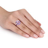 7 7/8 CT TGW Oval-Cut Amethyst & Rose De France Ring In Rose Plated Sterling Silver - 75000004326