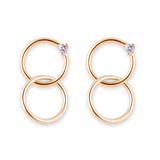Gold Linked Double Hoops With Cubic Zirconia Earrings - 10100452