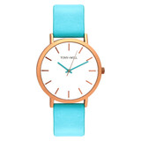 Classic Leather Watch in Rose Gold/White/Aqua - TWT000C_R_W_AQUA