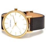 Classic Leather Watch in Gold/White/Black - TWT000C_G_W_BLACK