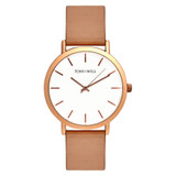 Classic Leather Watch in Rose Gold/White/Beige - TWT000C_R_W_BEIGE