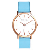Classic Leather Watch in Rose Gold/White/Blue - TWT000C_R_W_BLUE