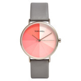 Eclipse Leather Watch in Silver/Pink/Grey - TWT006C_S_P_GREY