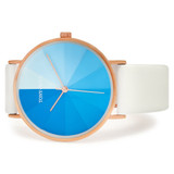 Eclipse Leather Watch in Rose Gold/Blue/White - TWT006C_R_B_WHITE