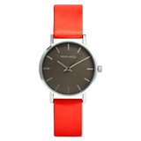 Small Classic Leather Watch in Silver/White/Peach - TWT004C_S_W_PEACH