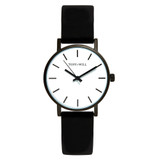 Small Classic Leather Watch in Black/White/Black - TWT004C_B_W_BLACK