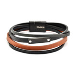 Stainless Steel Men's Black And Brown Leather Bangle With ID Plate - SSBG245