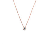 Sterling Silver Necklace With Bezel Set Cubic Zirconia Pendant in Rose Gold - N320RG