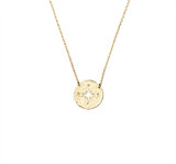 Sterling Silver Necklace With Compass Pendant in Gold - N319G