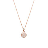 Sterling Silver Flat Cubic Zirconia Circle Necklace With Rose Gold Plating - N306RG