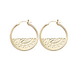 Sterling Silver Aztec Detail Hoop Earrings With Gold Plating - HE138G