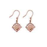 Sterling Silver Filigree Diamond Drop Earrings With Rose Gold Plating - E920RG