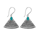 Sterling Silver Ornate Triange Earrings With Turquoise Feature - E915