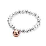 Sterling Silver 8mm Round Ball Elasticised Bracelet With Feature Rose Gold Plated Ball - BR288MULTI