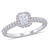 3/4 CT Cushion and Round Diamonds Halo Engagement Ring in 14k White Gold - 75000004524