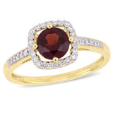 1/7 CT Diamond TW And 1 CT TGW Garnet Fashion Ring 10k Yellow Gold GH I2;I3 - 75000004558