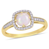 1/7 CT Diamond TW And 5/8 CT TGW Opal Fashion Ring 10k Yellow Gold GH I2;I3 - 75000004582