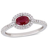 1/5 CT Diamond TW And 3/5 CT TGW Ruby-CN Fashion Ring 14k White Gold GH I1;I2 - 75000004594