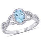 1/3 CT Diamond TW & 0.67 CT TGW Aquamarine White Sapphire Fashion Ring 10k White Gold GH I2;I3 - 75000004599