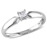 1/10 CT Princess Diamond TW Solitaire Ring 10k White Gold I2;I3 - 75000004547