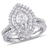 1 CT Marquise and Round Diamonds TW Bridal Set Ring in 14k White Gold - 75000004436