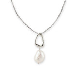 Large Freshwater Pearl Organic Tear Drop Pendant Necklace - 30100413