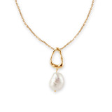 Gold Large Freshwater Pearl Organic Tear Drop Pendant Necklace - 30100415