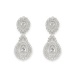 Cubic Zirconia Double Teardrop Statement Earrings - 10100463