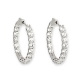 Cubic Zirconia Claw Set Hoops - 10100469