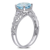 0.04 CT Diamond TW & 2 1/3 CT TGW Sky Blue Topaz Cocktail Ring in Sterling Silver - 75000004824
