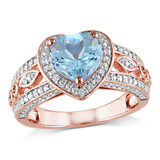 1/10 CT Diamond TW and 2 CT TGW Sky Blue Topaz Heart Ring in Rose Plated Silver - 75000004823