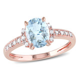 0.07 CT Diamond TW and 1 CT TGW Aquamarine Cocktail Ring in Rose Plated Silver - 75000004818