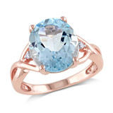 0.01 CT Diamond TW & 5 1/2 CT TGW Sky Blue Topaz 3-Stone Ring in Rose Plated Silver - 75000004816