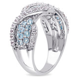 1 3/4 CT TGW Created White Sapphire Swiss Blue Topaz Ring in Sterling Silver - 75000004830