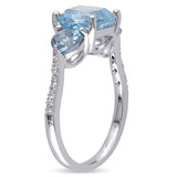 0.03 CT Diamond TW & 3 1/2 CT TGW Sky Blue Topaz with London Blue Topaz Cocktail Ring in Sterling Silver - 75000004826