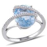 1/6 CT Diamond TW & 5 5/8 CT TGW Sky Blue Topaz Cocktail Ring in Sterling Silver - 75000004832