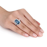 0.03 CT Diamond TW & 7 7/8 CT TGW London Blue Topaz with White Topaz Cocktail Ring in Sterling Silver - 75000004831