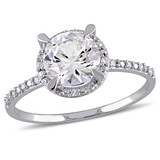 0.05 CT Diamond TW & 1 5/8 CT TGW Created White Sapphire Ring in 10k White Gold - 75000004654