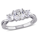0.04 CT Diamond TW and 2 CT TGW Created White Sapphire Ring in 10k White Gold - 75000004660