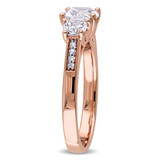 0.04 CT Diamond TW and 2 CT TGW Created White Sapphire Ring in 10k Rose Gold - 75000004659