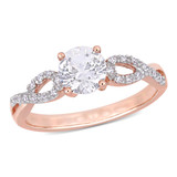 1/10 CT Diamond TW and 1 CT TGW Created White Sapphire Ring in 10k Rose Gold - 75000004657