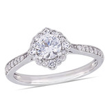 1/10 CT Diamond TW and 4/5 CT TGW Created White Sapphire Ring in 10k White Gold - 75000004671