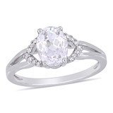 0.06 CT Diamond TW and 2 CT TGW Created White Sapphire Ring in 10k White Gold - 75000004673