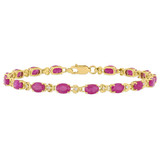 1/6 CT Diamond TW and 4 5/8 CT TGW Ruby Bracelet in 14k Gold Yellow - 75000004930