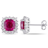 4 7/8 CT TGW Created Ruby Created & White Sapphire Ear Pin Earrings in Sterling Silver - 75000004886