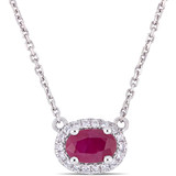1/10 CT Diamond TW and 3/5 CT TGW Ruby-CN Necklace With Chain in 14k White Gold - 75000004926