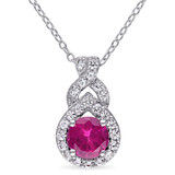 1 4/5 CT TGW Created White Sapphire Created Ruby Fashion Pendant With Chain in Sterling Silver - 75000004877